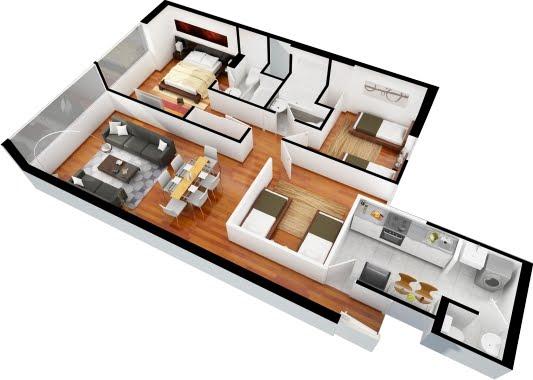 Departamentos de 3 dormitorios y 2 dormitorios planos 3d for Planos de casas en 3d gratis