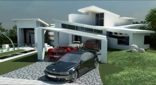 Fachadas 3d de casa minimalista fachadas de casas y for Planos casa minimalista 3d