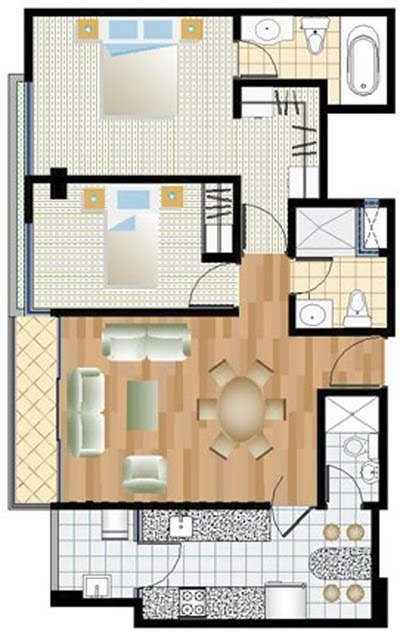 planos de departamento de 2 dormitorios de 80m2 planos