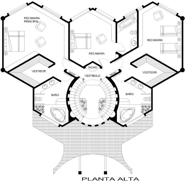 PLANO DE CASA USANDO HEXAGONOS O CASA ABEJA