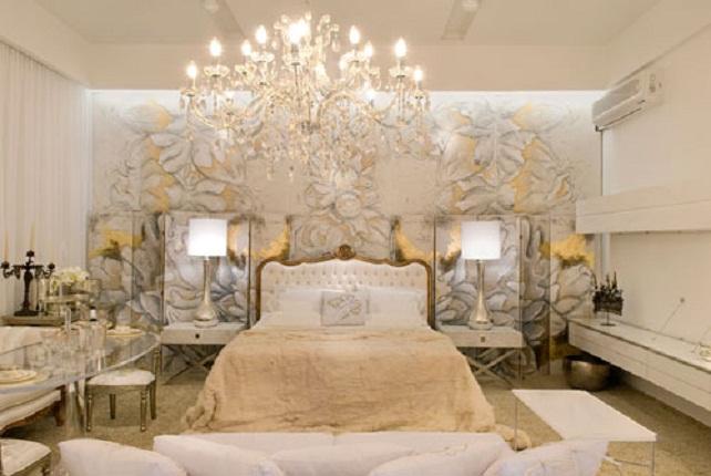 Dormitorio blanco y dorado - Dormitorio barroco ...