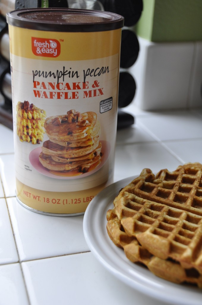The recently introduced fresh&easy Pumpkin Pecan Waffle & Pancake Mix is