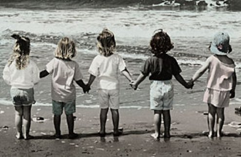 Line of children holding hands