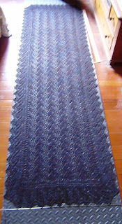 print o' the wave shawl pinned out on blocking mat