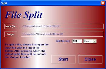 Utk melakukan SPLIT (memisahkan file besar ke file2x kecil )