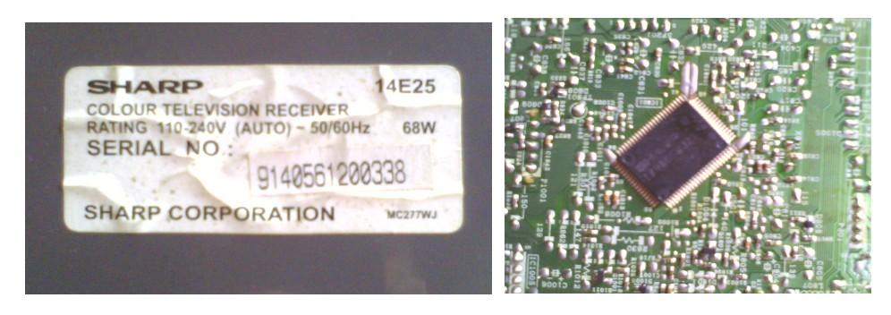 Label Panel belakang & IC Program TV SHAP PICOLO 14E25