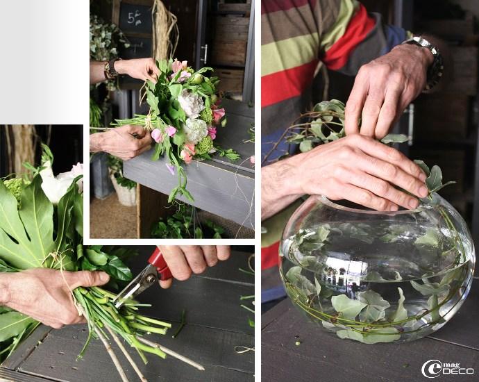 Dernières étapes de la création d'un bouquet de fleurs