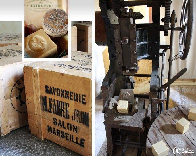 Caisse en bois estampillée Marius Fabre, ancienne machine à marquer les cubes de savon dans un moule à tulipe