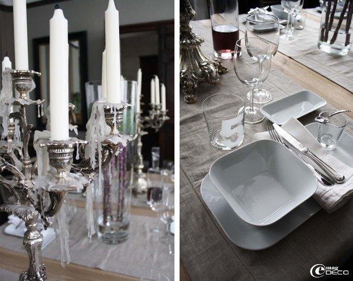 Candélabre et vaisselles sur la table dréssée pour les hôtes de L'Albiousse