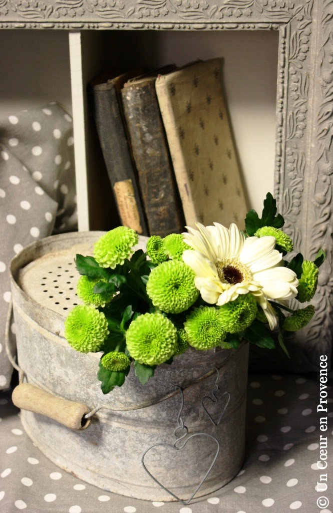 Galvanized fishing bucket and load of fresh flowers