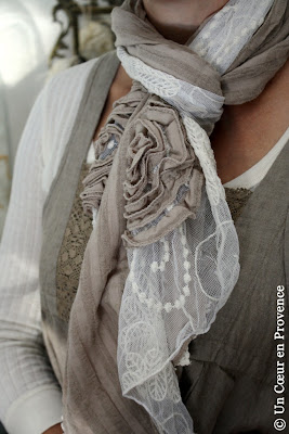 Scarf romantic lace and cotton