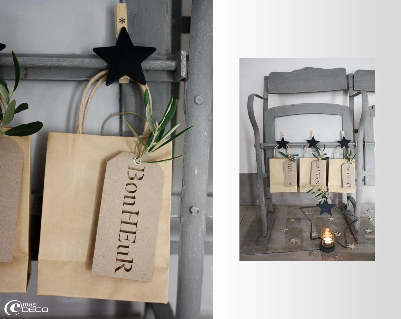 Pinces en bois avec étoile Casa, petits sacs en papier Kraft Rétif, étiquettes cadeaux en carton ajourées Un esprit en plus