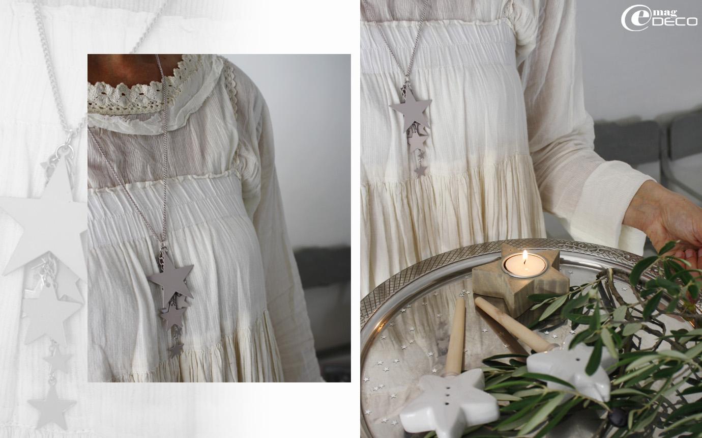 Robe et chemisier Ewa i walla chez L'Atelier des Ours, collier Galeries Lafayette