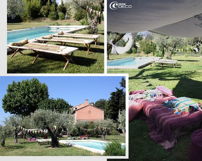 Lits de camps près de la piscine et lit sous une grande toile façon berbère