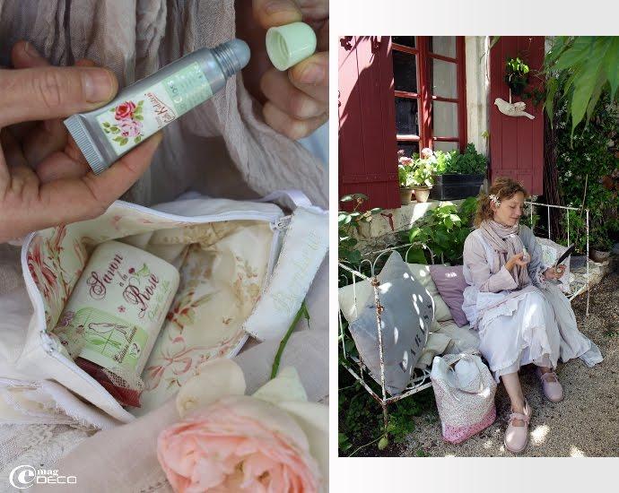Brillant à lèvres à la rose Cath Kidston et coussin avec pochoir, création Florence Bouvier
