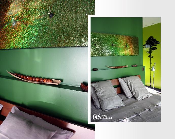 La tête de lit d'une chambre du Yamina Lodge au Cap Ferret