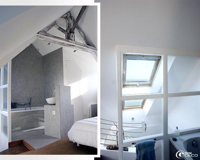 Salle de bain en béton ciré conçue par le cabinet d'architecture Voisin et Associés à Bayeux