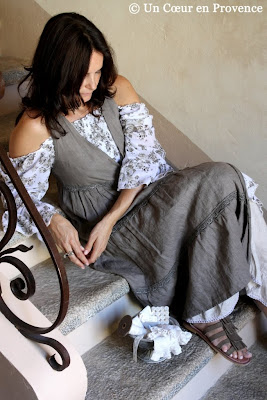 Linen dress on a blouse