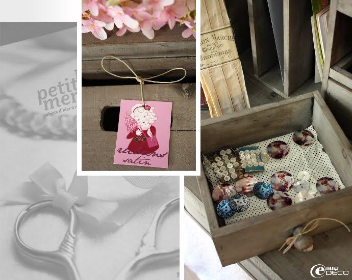 Étiquette Oscar & Lila et boutons de nacres décorés