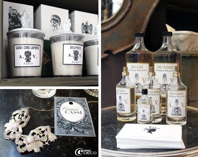 Bougies parfumées Astier de Villatte et collier Emma Cassi