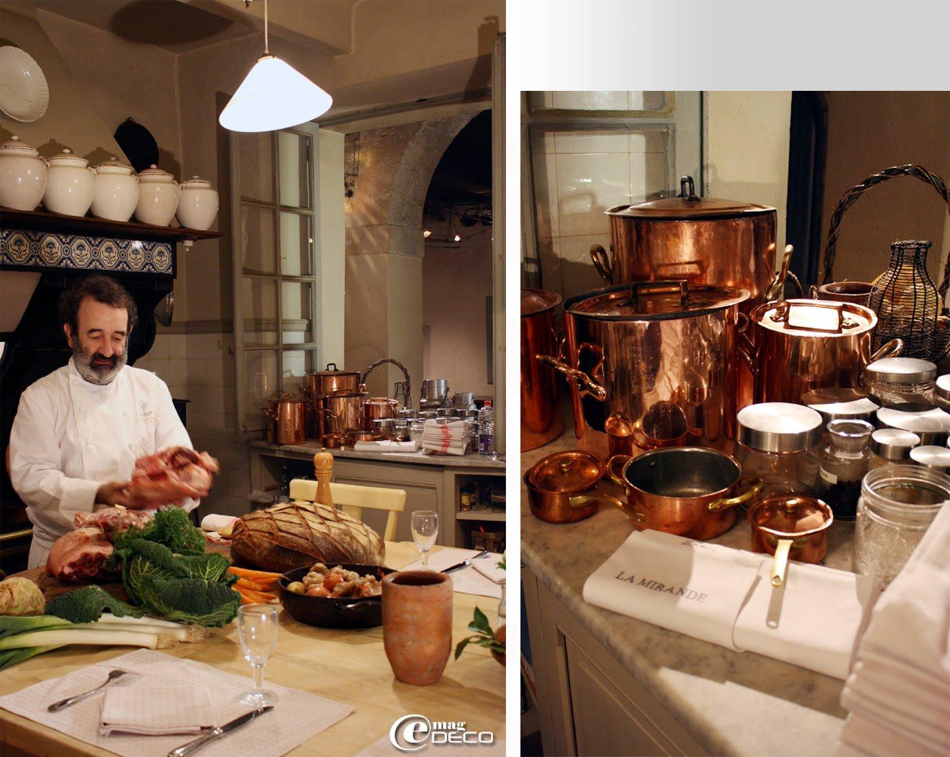 Le chef Jean-Claude Altmayer dans l'ancienne cuisine du XIXème siècle de l'Hôtel La Mirande