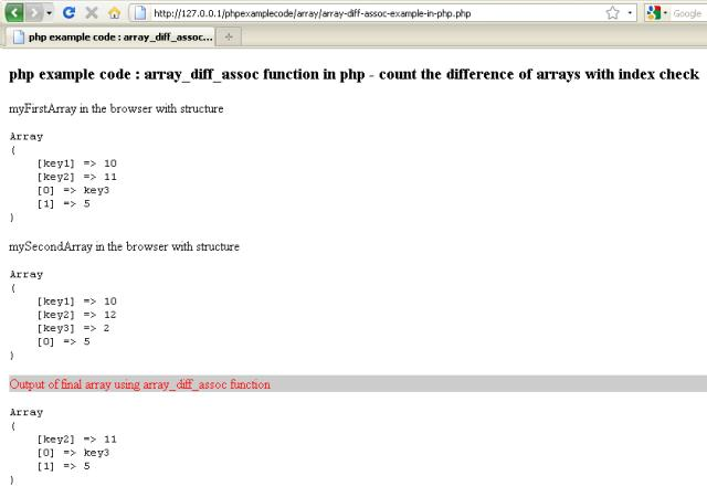 Examples Array Diff Assoc Function In Php Count The Difference