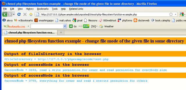 Examples Chmod Access Permission Php Filesystem Function
