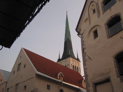 view of the church spire in the medieval town of Tallinn Estonia