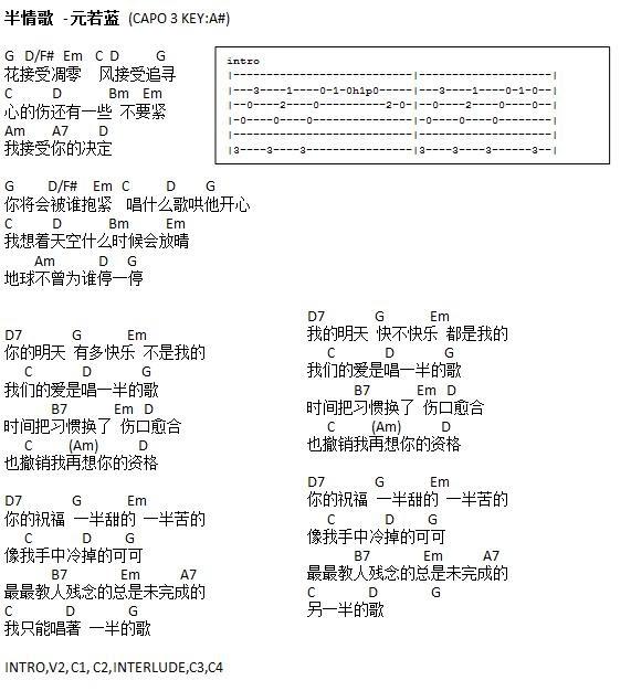 ChordsDB Free Guitar Music Sheets / Chords / Lyrics: [chordsDB.com] u534au60c5u6b4c - u547du4e2du6ce8u5b9au6211u7231u4f60 Guitar Chords/Tabs