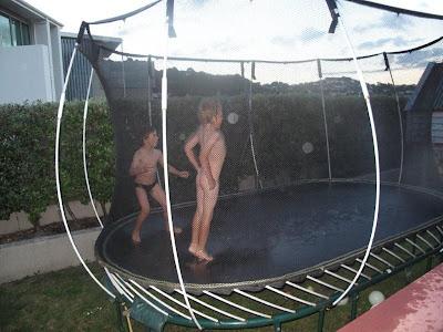 nudist on a trampoline
