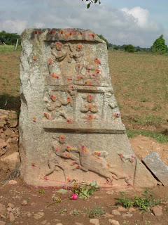 Damaged Hero Stone in Tamil Nadu