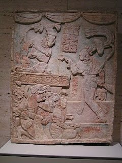 Mayan sculpture on display in the museum