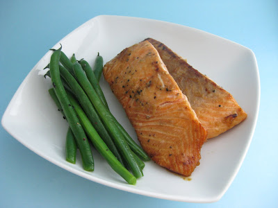 Soy Glazed Salmon Steaks with Sesame Green Beans