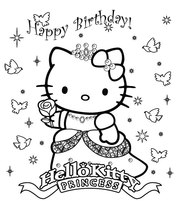 Hello Kitty as a Princess - print and color to your heart's content title=