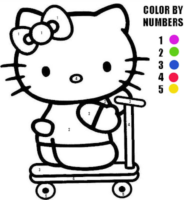 Kitty Coloring Sheets On Here Is A Hello Color By Numbers Activity Sheet That We