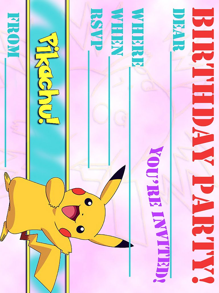 Bright image for pokemon party invitations free printable