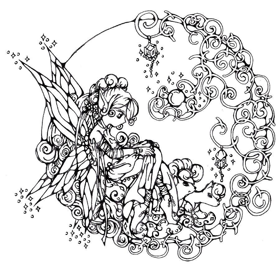 Coloring Pages For Adults Fairy : FAIRY COLORING PAGES