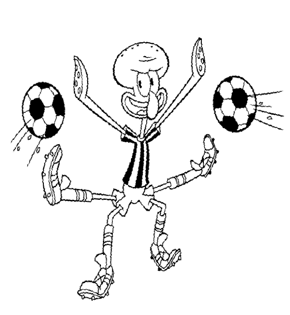 Patrick Playing Football Coloring Page
