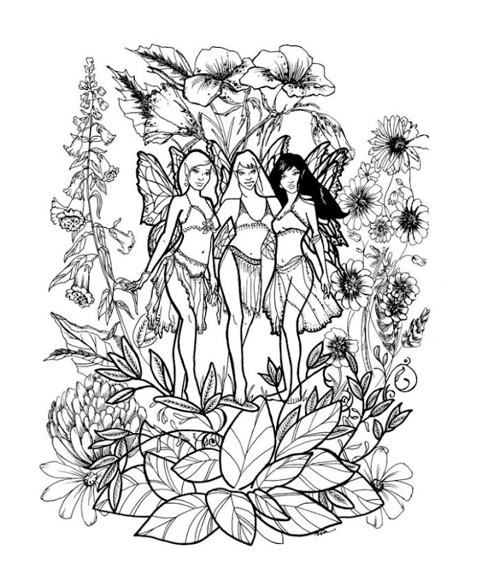 Here's a beautiful coloring page of three fairies - thank you Emma for  title=