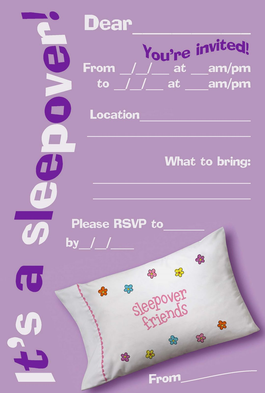 FREE PRINTABLE SLEEPOVER / SLUMBER PARTY INVITATIONS