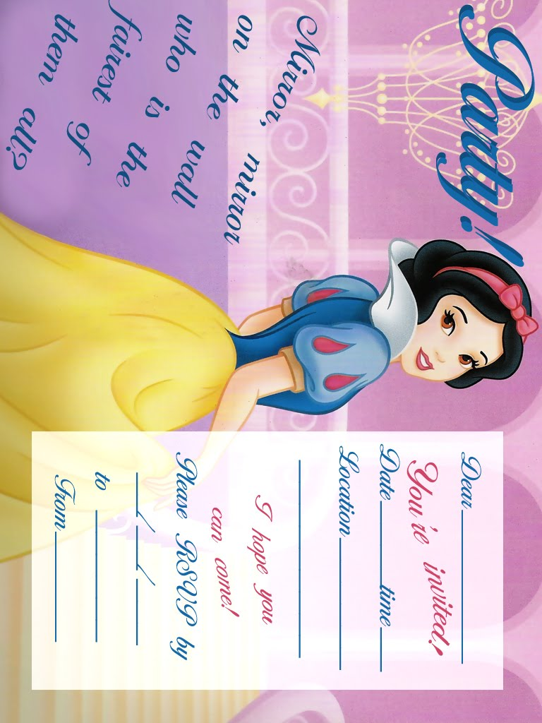 PRINCESS COLORING PAGES – Snow White Party Invitations