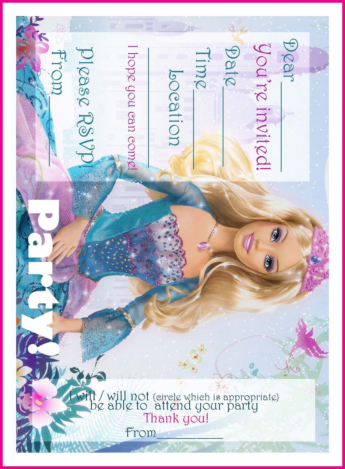 FREE PRINTABLE PRINCESS BARBIE BIRTHDAY PARTY INVITATIONS