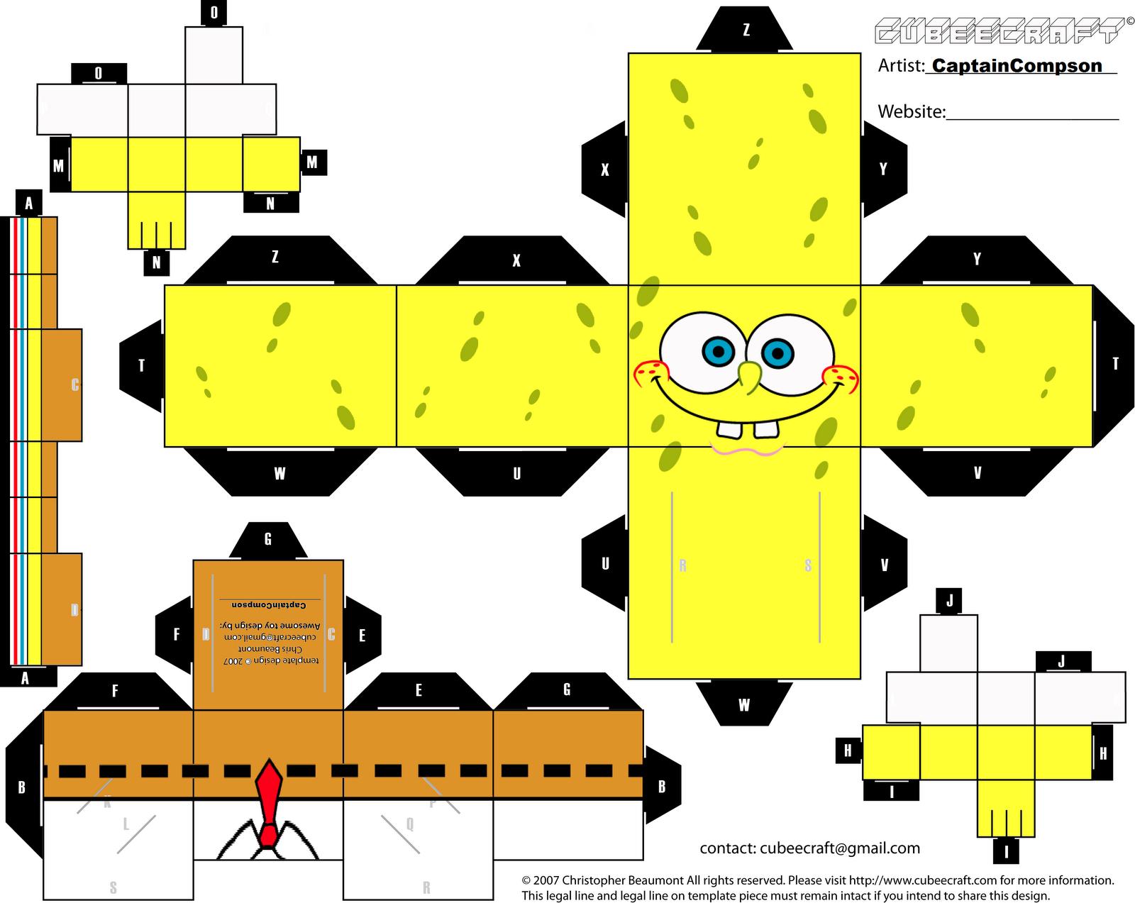 اصنعى لطفلك علبة سبونج بوب  Sponegbob+paper+craft+activity+sheet