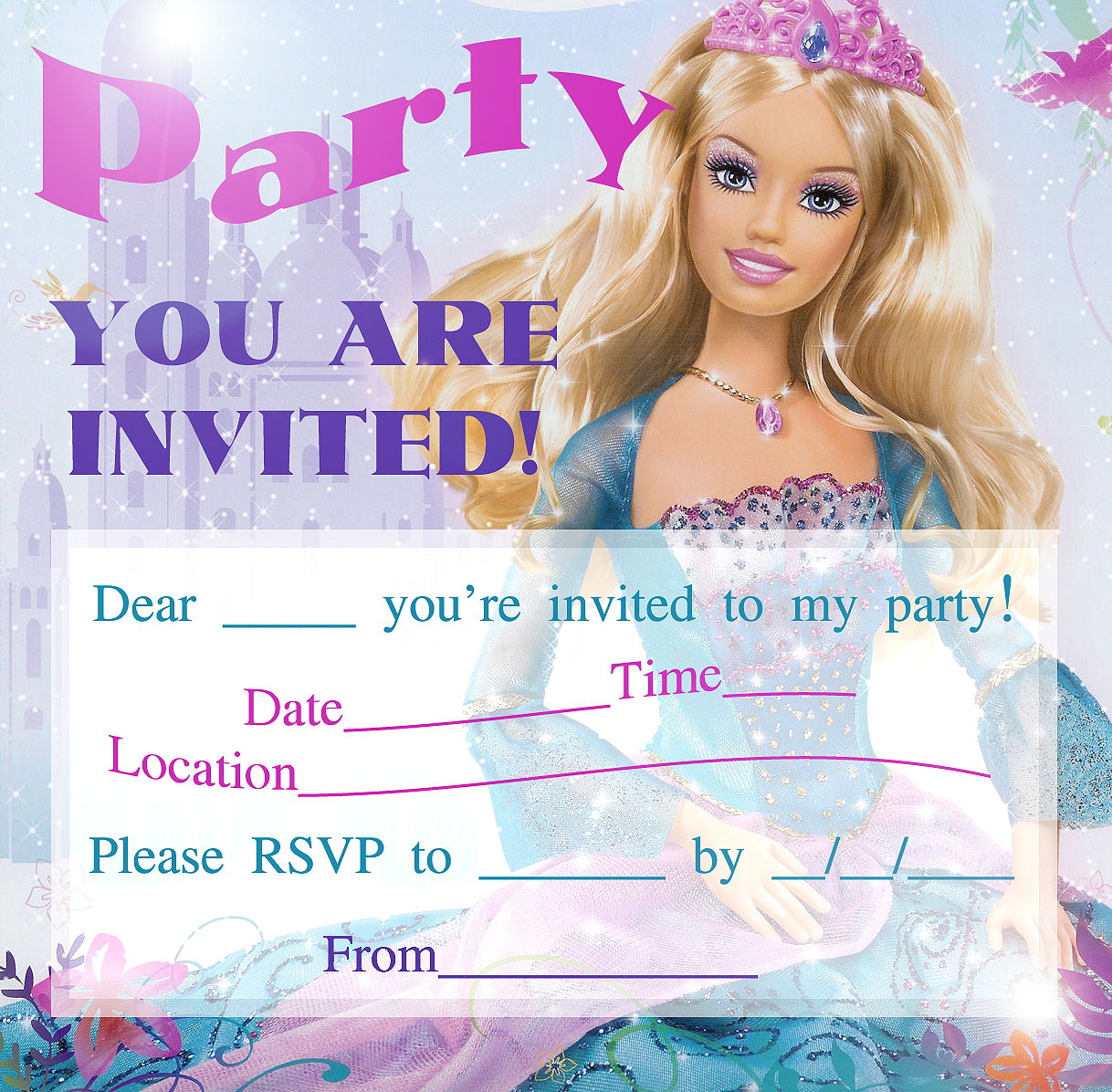 BARBIE COLORING PAGES BARBIE PRINTABLE INVITATIONS FOR A PARTY