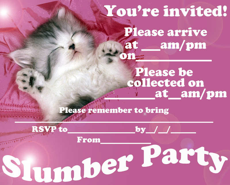 FREE PRINTABLE SLEEPOVER / SLUMBER PARTY INVITATIONS title=