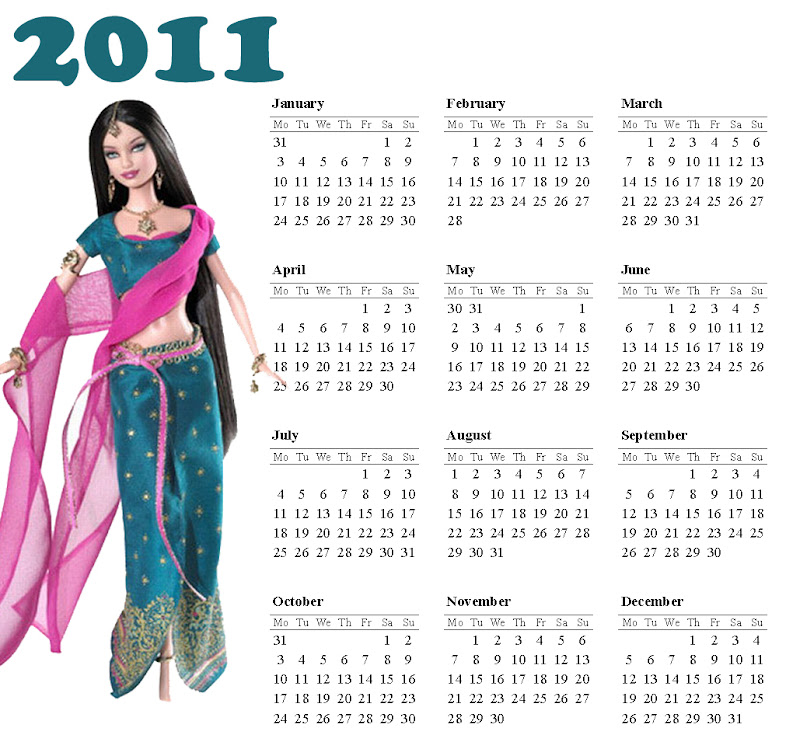 FREE PRINTABLE INDIAN BARBIE - BOLLYWOOD - CALENDAR 2011 title=
