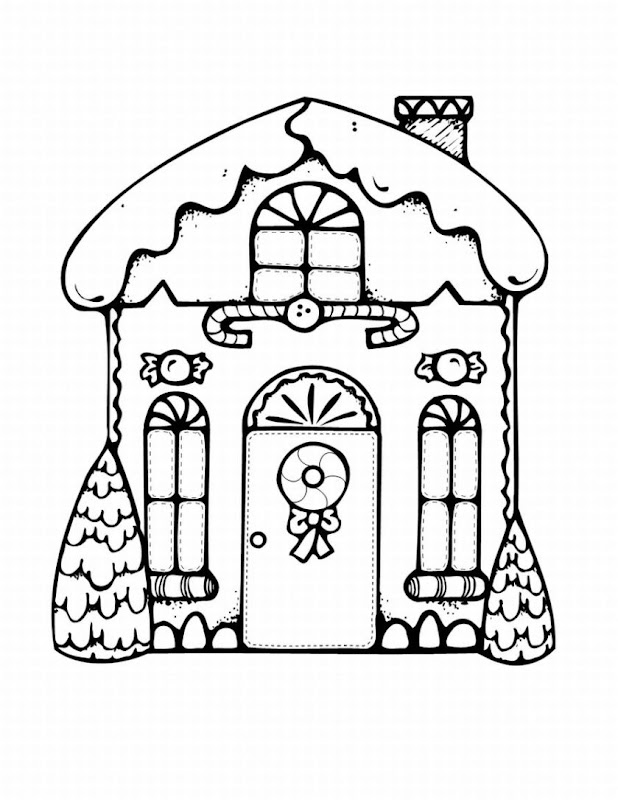 GINGERBREAD HOUSE COLORING IN PAGES title=