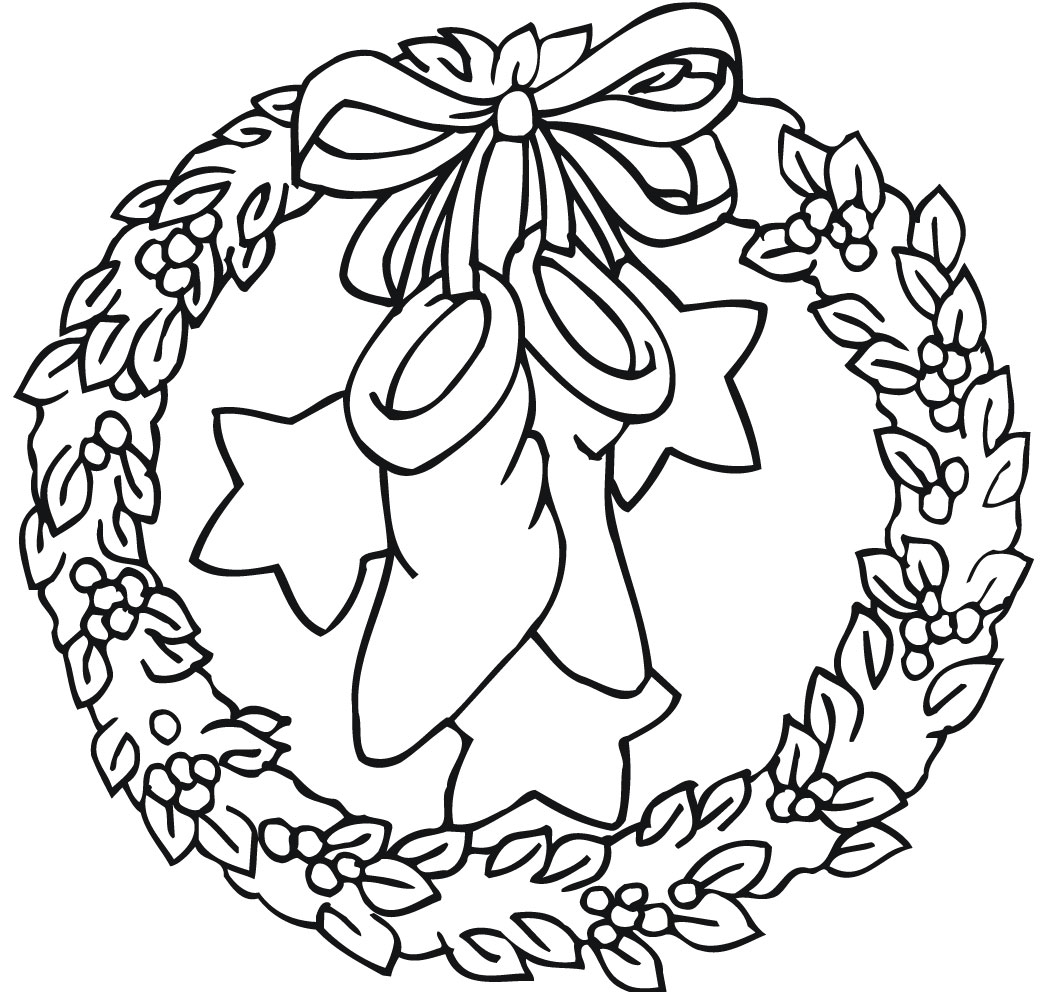 Heres A Christmas Wreath And Some Teddy Bears For You To Print Color This Click On The Xmas Coloring Page Like Best It Will Open