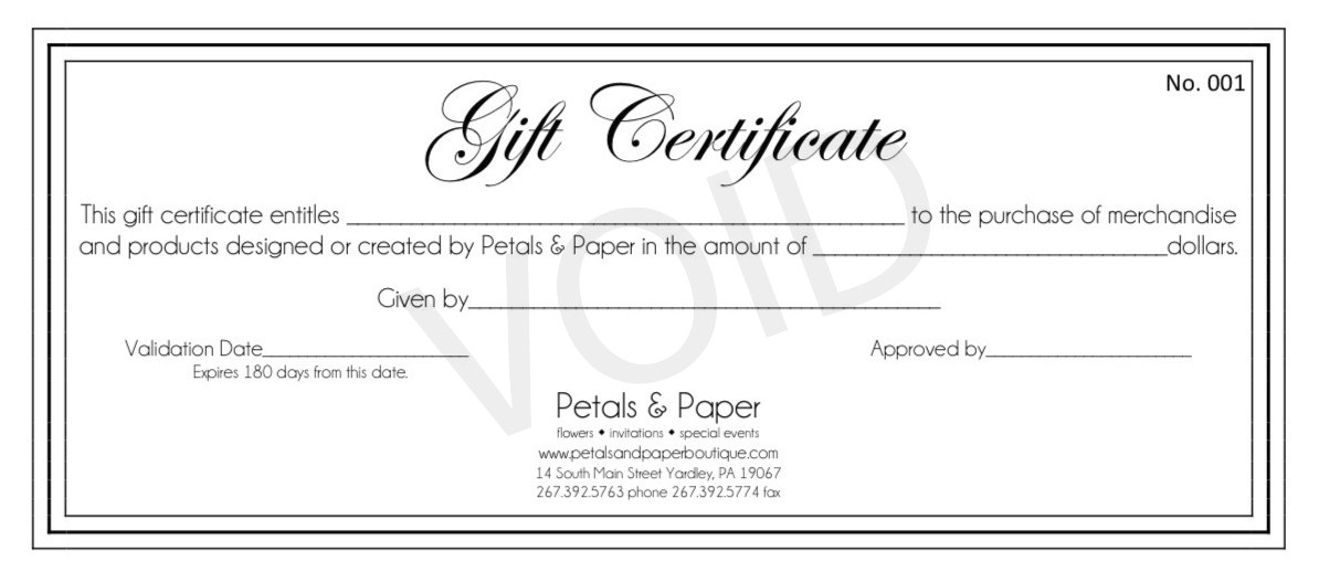 Petals & Paper Boutique: Gift Certificates Make the Perfect Gift!