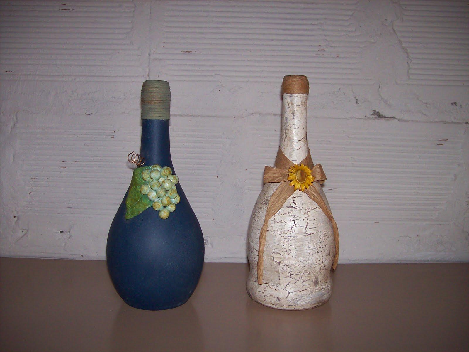 decorar botellas y frascos, es lindísimo ver el antes con sus vidrios